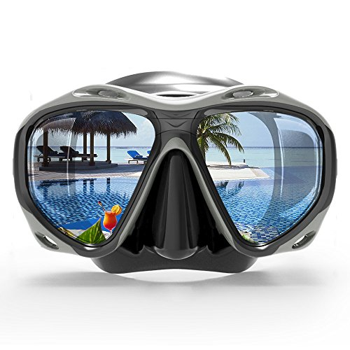 COPOZZ Snorkel Mask, Snorkeling Scuba Dive Glasses, Free Diving Tempered Glass Goggles - Optional Dry Snorkel with Comfortable Mouthpiece (4260-Black) ()