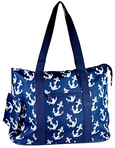 Ever Moda Anchor Print Extra Large Tote Bag with Coin Purse, Blue and White - Designer Small Diaper Bags