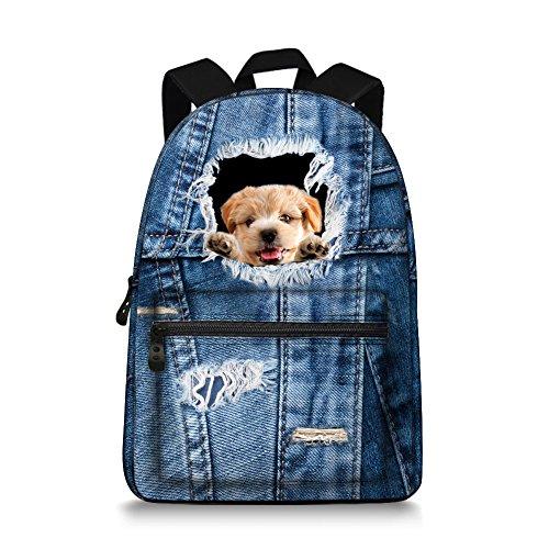 Jeremysport Denim Rucksack Cute Bookbags Schüler Rucksack Schule Laptop Rucksack Tasche Pack Super Cute für Schule für Teenager Denim Golden Retriever Z2sNY