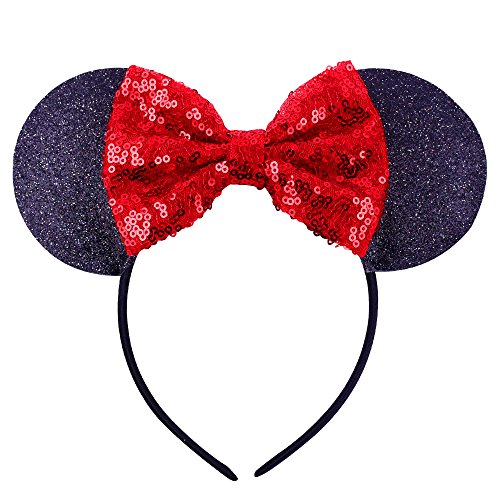 Cute Minnie Mouse Halloween Makeup (Mouse Headband Bow Bowknot Ears Headband Mice Rat Flower Hair Hoop Girls Kids Party Decoration Headdress Cosplay Costume Headwear Handmade Headpiece Hair Bands Hair Accessories 1 Pack Bow)