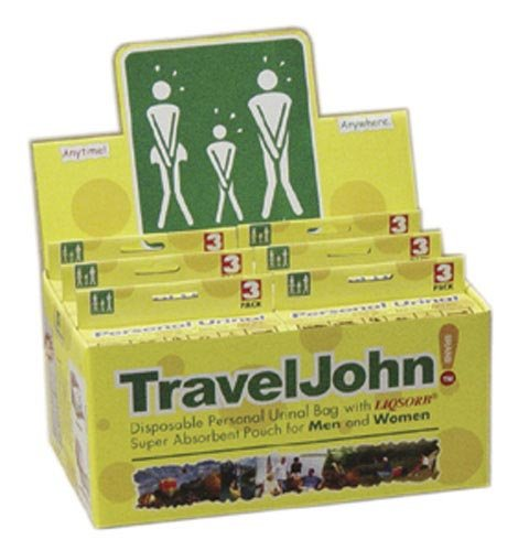 SPECIAL PACK OF 3-Travel John Disp Urinary Pouch Display (6-3 Packs) by Marble Medical