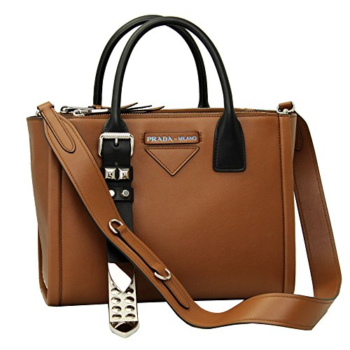 Prada Concept brown leather Handbag With Shoulder Strap 1BA175 Cognac+Bianco