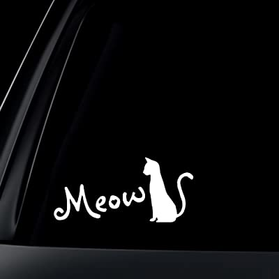 World Design Cat Silhouette Meow for Cat Lovers Car Decal/Sticker - White: Automotive
