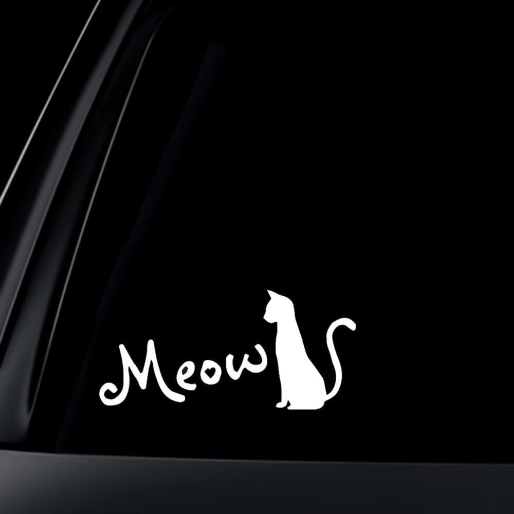Meow Funny Car Door Bumper Window Sticker Decal Vinyl Hard Hat Helmet Decor