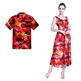 Couple Matching Hawaiian Luau Aloha Shirt Maxi Tank Dress in SunRed 2XL