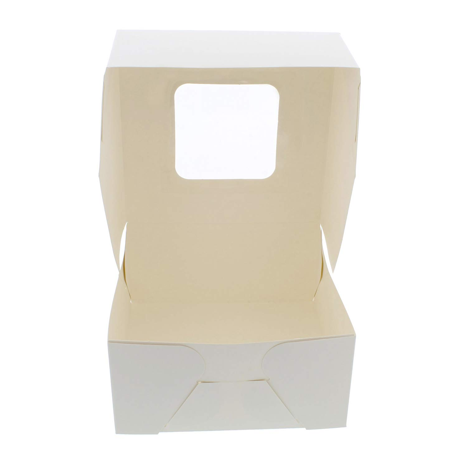 SpecialT White Bakery Boxes with Window, 200pk - 6'' x 6'' Inch Cake Boxes, Party Favor Boxes, Candy Boxes, Dessert Boxes by SpecialT (Image #2)