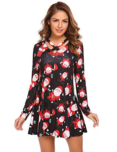ELESOL Womens Solid Long Sleeve Plain T-Shirt Dress Sexy Criss Cross V-Neck Dress