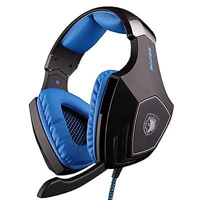 Aokland Sades A60 Over-ear Super Bass Stereo Computer Headset Headphone Earphone With Microphone (black/blue)