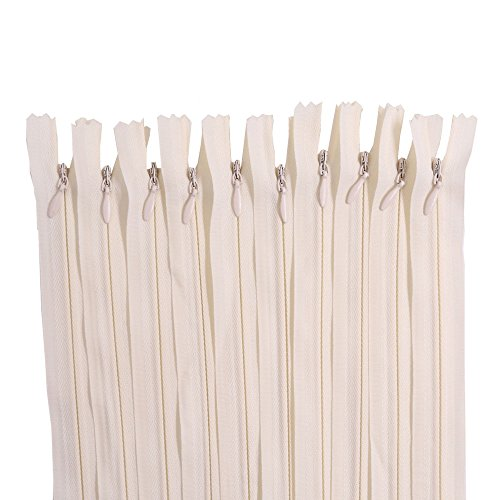 Renashed 45pcs 21.5 Inch Nylon Invisible Zippers for Tailor Sewer Sewing Craft Crafter's Special (Beige)