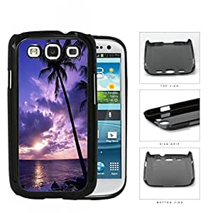 Beach Sunset Scenery With Palm Tree Silhouette Hard Plastic Snap On Cell Phone Case Samsung Galaxy S3 SIII I9300