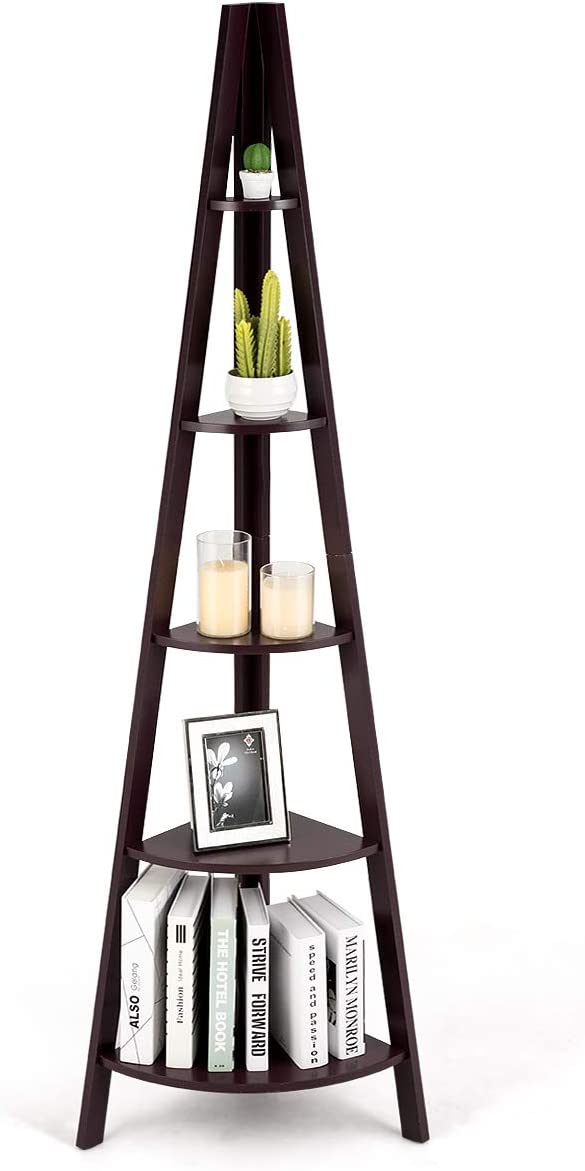 Tangkula Corner Ladder Shelf, 5-Tier Corner Ladder Bookcase, Wooden A-Shaped Display Organizer Plant Flower Stand, for Home Office, 5-Shelf Corner Ladder Bookshelf (Coffee)