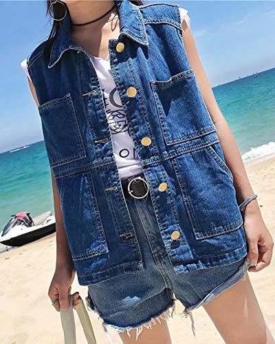 Donna Maniche Fit Blu Giacca Eleganti Senza Jeans Giacche Gilet Corte Slim rX7q5r