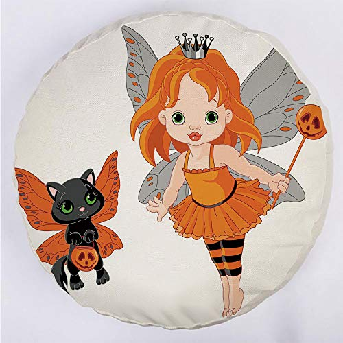 Round Decorative Throw Pillow Floor Meditation Cushion Seating/Halloween Baby Fairy and Her Cat in Costumes Butterflies Girls Kids Room Decor Decorative/for Home Decoration 17