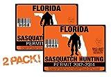 Florida-SASQUATCH HUNTING PERMIT LICENSE TAG DECAL TRUCK POLARIS RZR JEEP WRANGLER STICKER 2-PACK!-FL