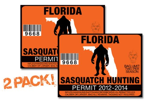 Florida-SASQUATCH HUNTING PERMIT LICENSE TAG DECAL TRUCK POLARIS RZR JEEP WRANGLER STICKER 2-PACK!-FL