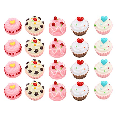 JETEHO 20pcs 5 Styles Cake Flatback Resin Scrapbooking Cabochons DIY Hair Bow Center Decoration Embellishments Card Making Slime Ornament Scrapbook DIY Crafts(15x15x12mm)