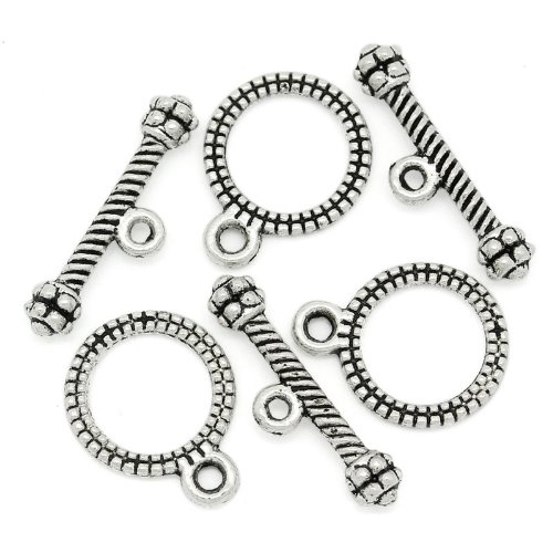 [PEPPERLONELY Brand, 100 Sets Antiqued Silver Stripe Pattern Toggle Clasps] (Pattern Toggles)