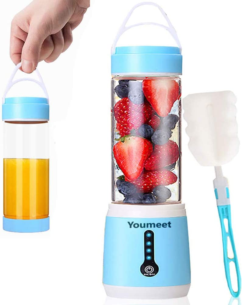 Smoothie Blender,Youmeet Cup Blender Remaining Power Display,USB Rechargeable Blender Mini Blenders for Smoothies with Cup Lid Brush for Fruits Veggies Ice Work Sports Travel
