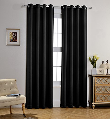 MYSKY HOME Solid Grommet top Thermal Insulated Window Blackout Curtains Kids Bedroom, 52 x 84 inch, Black, 1 panel - Home Panel Bed