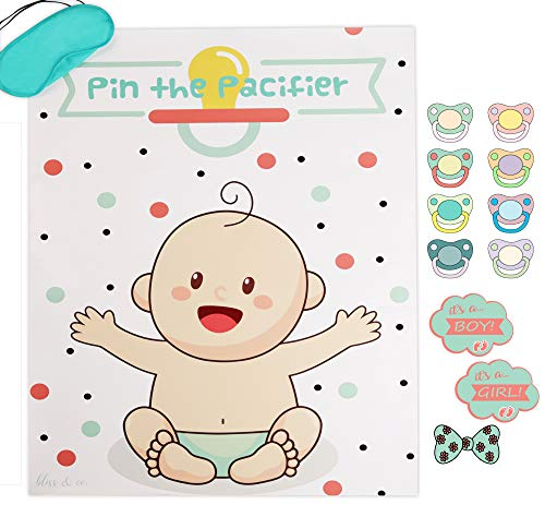 Baby Shower Games - Pin the Pacifier | Gender Reveal Stickers Included for Baby Boys or Baby Girls | Large 21