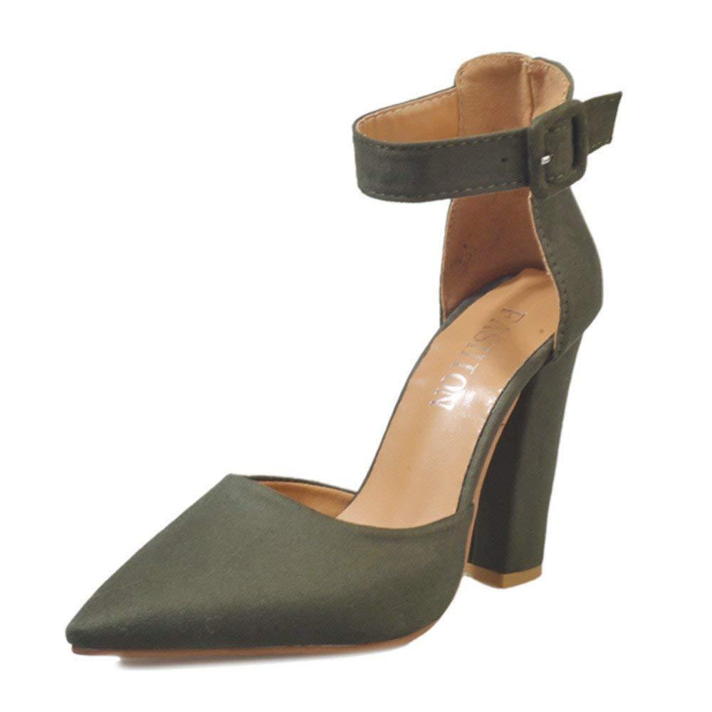 Stiefel Damen Einzelne Schuhe ErbsenschuheSchnalle Damen Ankle Ankle Ankle High Heels Block Party Singel Schuhe Weiche Schuhe Slipper Sandalen (Farbe   Grün Größe   42 EU) 2c758b