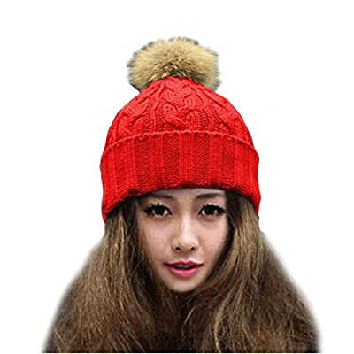 Cuca Dunna Winter Snow Ski Hip Hop Skullies & Beanies Caps Wool Knitted Hat With Large Raccoon Fur Pom Poms for Women Toddler Girl Parent Child Hats