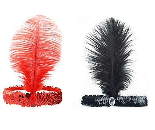 Vintage 1920s Flapper Headband Roaring 20s Great Gatsby Headpiece with Feather Womens Gifts Hair Accessories for Christmas (black+red) -