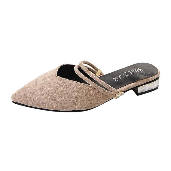 POLP Sandalias y Chanclas Zapatillas de Estar por casa Calzado de Trabajo Casual con Punta en Punta para Mujer Sandalias Damas cuadradas Mocasines Zapatos ...