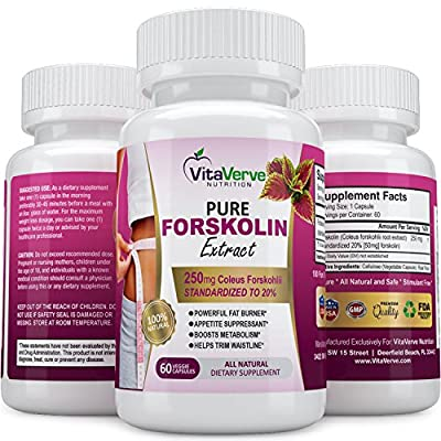 100% Pure Forskolin Extract For Extreme Weight Loss ? Best Fat Burner, Metabolism Booster, Appetite Suppressant & Best Carb Blocker ? 250mg Maximum Strength Diet Pills for Woman and Men.