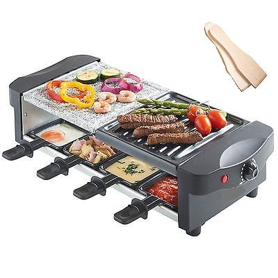 King of Raclette RECTANGULAR Party BBQ Grill with Temperature Control & Safety Indicator Electric Nonstick BBQ Indoor Grill / Outdoor Grills for up to 8 People (Mini Tabletop Grill compare prices)
