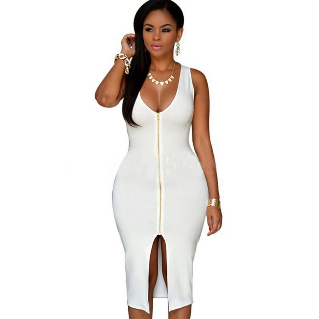 GOTD Women Sexy Zipper Package Hip Deep V-neck Night Party Club Skirt Dress (XL, White)