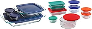 Pyrex Grab Glass Bakeware and Food Storage Set, 8-Piece, Clear & Simply Store Meal Prep Glass Food Storage Containers (18-Piece Set, BPA Free Lids, Oven Safe),Multicolored