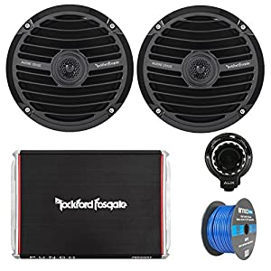 """Marine Speaker And Amp Combo Of 2x Rockford Fosgate RM0652 6.5"""" Marine Audio Speakers Bundle With a 300-Watt 2-Channel Boosted Rail Amplifier W/ Bluetooth preamp controller + 50Ft Speaker Wire (Black)"""