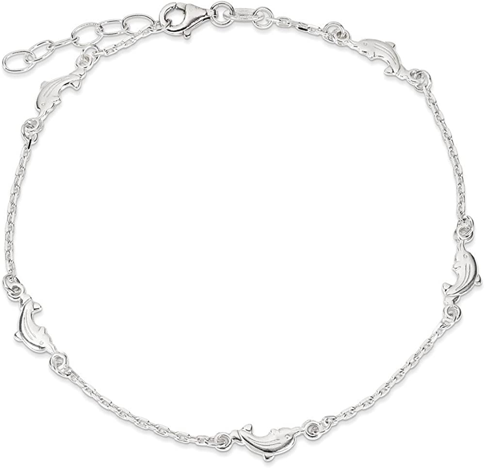 Sterling Silver Polished Dolphin with 1in ext Anklet 9 Inch