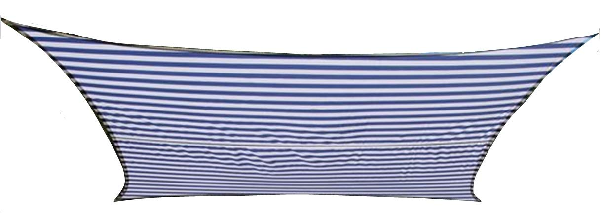 Kookaburra Sonnensegel, wasserdicht, im Streifendesign, Weiß   Blau