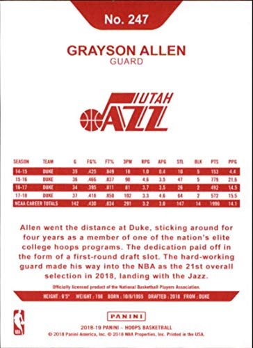 Amazon.com: 2018-19 Panini Hoops Red Backs #247 Grayson Allen Utah Jazz RC Rookie NBA Basketball Trading Card: Collectibles & Fine Art
