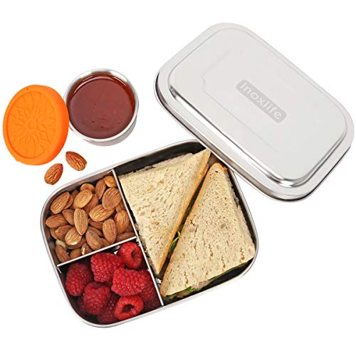 Inoxlife Stainless Steel Lunch Box for Kids with Leakproof Dips Condiment Stainless Container -3 Compartment Metal Bento Boxes-Healthy,Durable,all ()