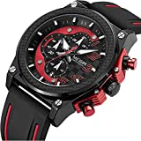 LIANDU Mens Chronograph Military Watch Analog Calendar Waterproof Silicone Strap for Watches (red)