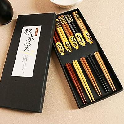 AOOSY Palillos japoneses Madera, 5 Pares de Palillos de Sushi de Cocina China de Madera Natural Reutilizable de 9 Pulgadas Juego de vajilla con Caja Negra Apto para lavavajillas: Amazon.es: Hogar