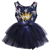 Newborn Baby Girls Skirt Sleeveless Floral Crown Print Tutu Lace Princess Dress