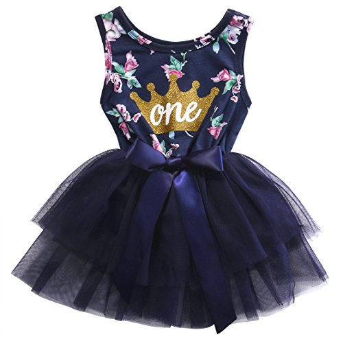Girls Fall Cotton Skirt Floral Crown Print Tutu Lace Princess Dress (12-18m, Navy Blue) (Beautiful Baby Lace Skirt)