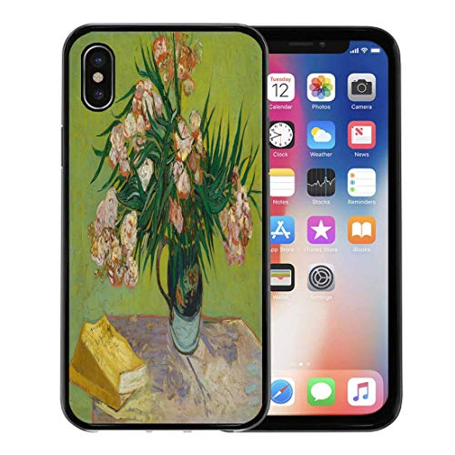 Dutch Jug (Semtomn Phone Case for iPhone Xs case,Oleanders by Vincent Van Gogh 1888 Dutch Post Impressionist Oil on Canvas The Flowers Fill Majolica Jug for iPhone X Case,Rubber Border Protective Case,Black)