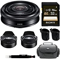 Sony 20mm f/2.8 Alpha E-mount Prime Lens w/ Sony VCL-ECF2 Fisheye APS-C Converter & Prime Ultra Wide Converter & Sony 32GB Memory Card & Accessory Bundle