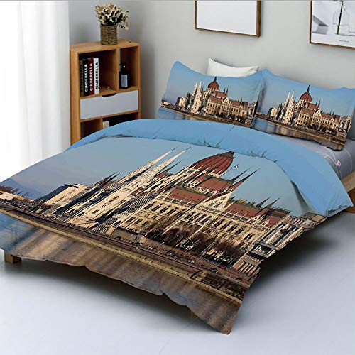 - Duplex Print Duvet Cover Set Twin Size,Parliament Budapest Hungary Scenic Skyline Reflection in The Water Surface PictureDecorative 3 Piece Bedding Set with 2 Pillow Sham,Best Gift for Kids & Adult