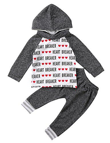 Toddler Baby Boys Valentine's Day Hoodie Outfit Heartbreaker Sweatshirt and Pants Clothes Set (18-24M, Grey) -