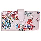 Buxton Leather Tab Checkbook Cover & Credit Card Holder Bill Wallet & Zippered Coin Pouch (Pink Butterfly Print)