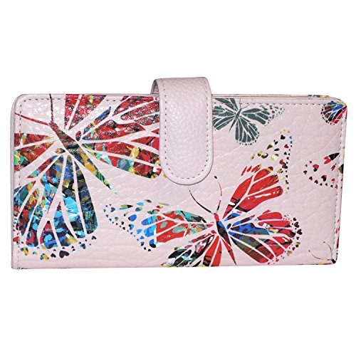 Milled Cowhide (Buxton Leather Tab Checkbook Cover & Credit Card Holder Bill Wallet & Zippered Coin Pouch (Pink Butterfly Print))