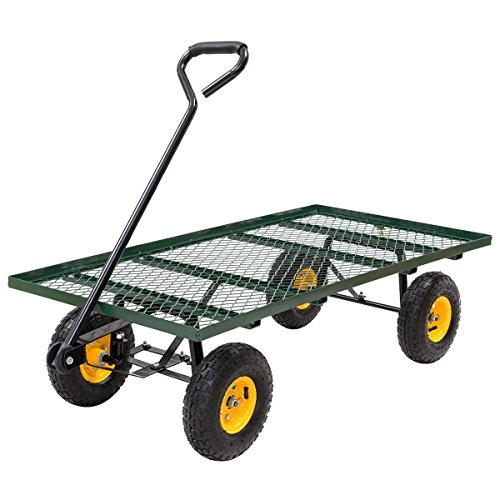 Goplus Flat Garden Cart Utility Wagon Trolley 800LB Capacity Mesh Steel Heavy Duty Beach Cart Deck Trailer , Green