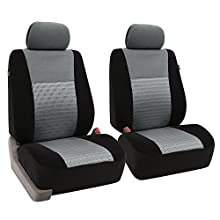 FH GROUP FH-FB060102 Trendy Elegance Pair Bucket Seat Covers, (Airbag compatible) Gray / Black Color-Fit Most Car, Truck, Suv, or Van