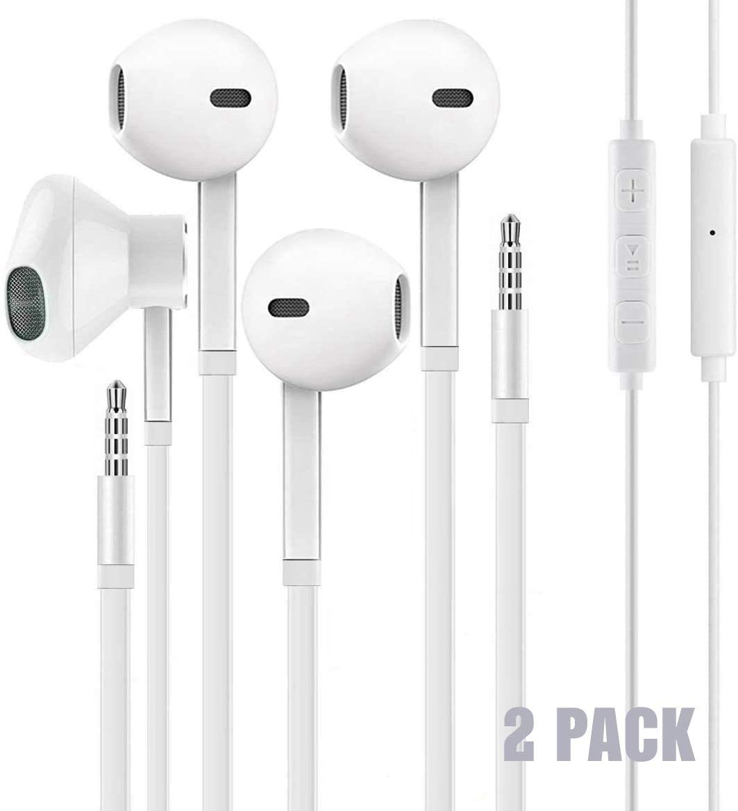 2PACK Wired Earphones with Microphone Compatible with iPhone Samsung Android Laptop Chromebook iPad